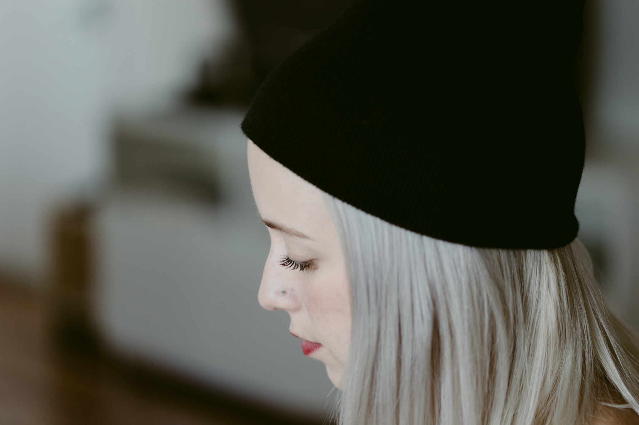 blonde beanie nose piercing