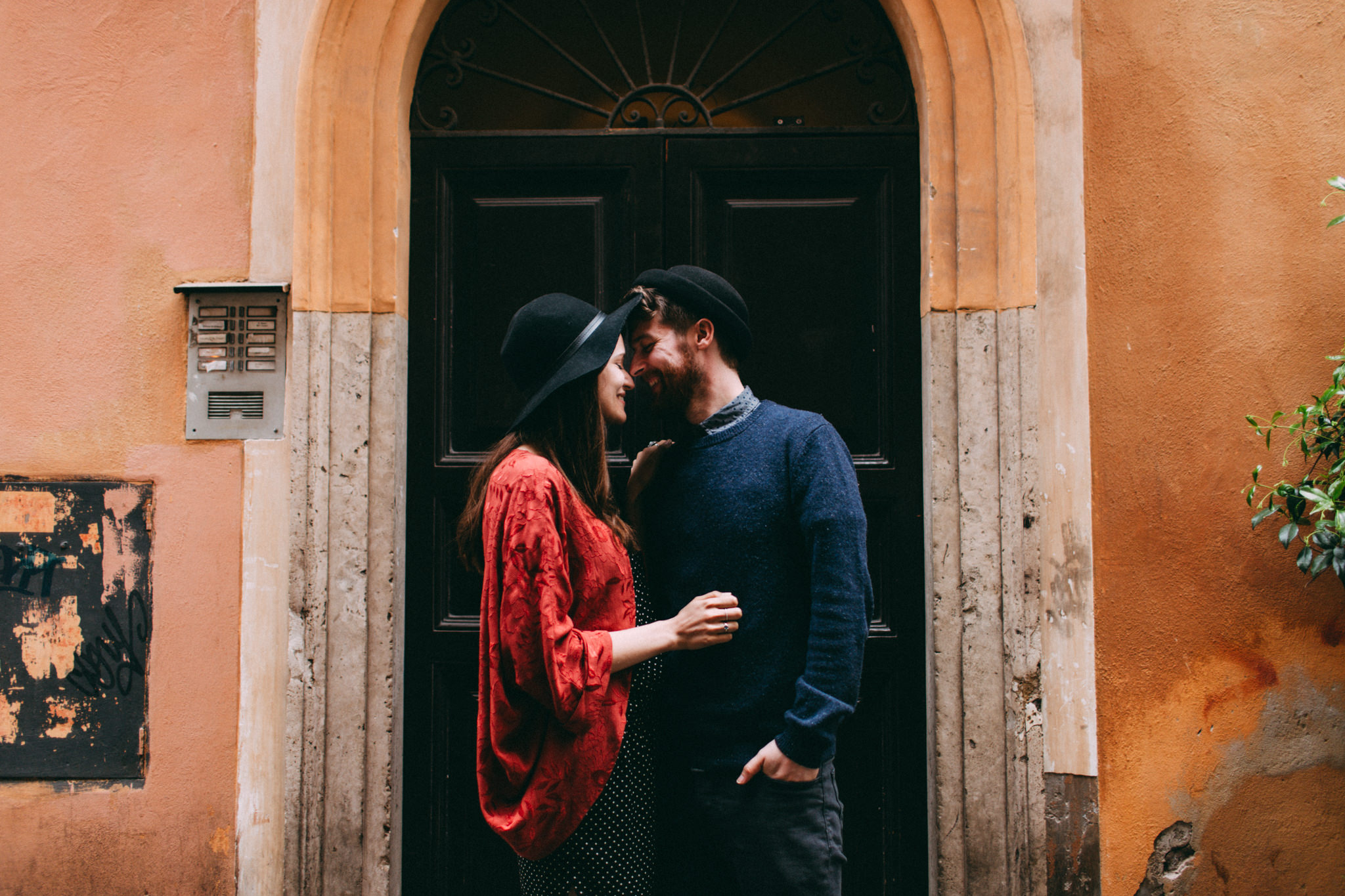 happy couple in love in rome