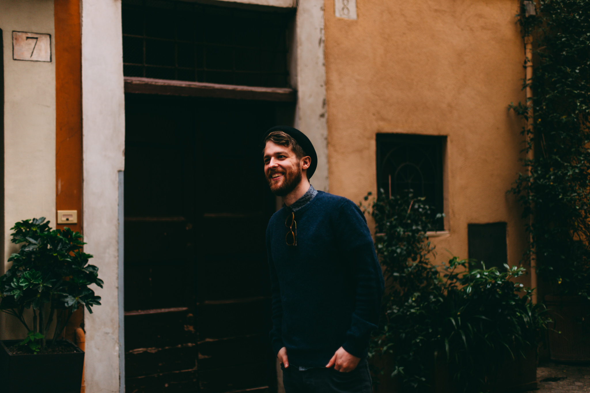 man smiling in rome