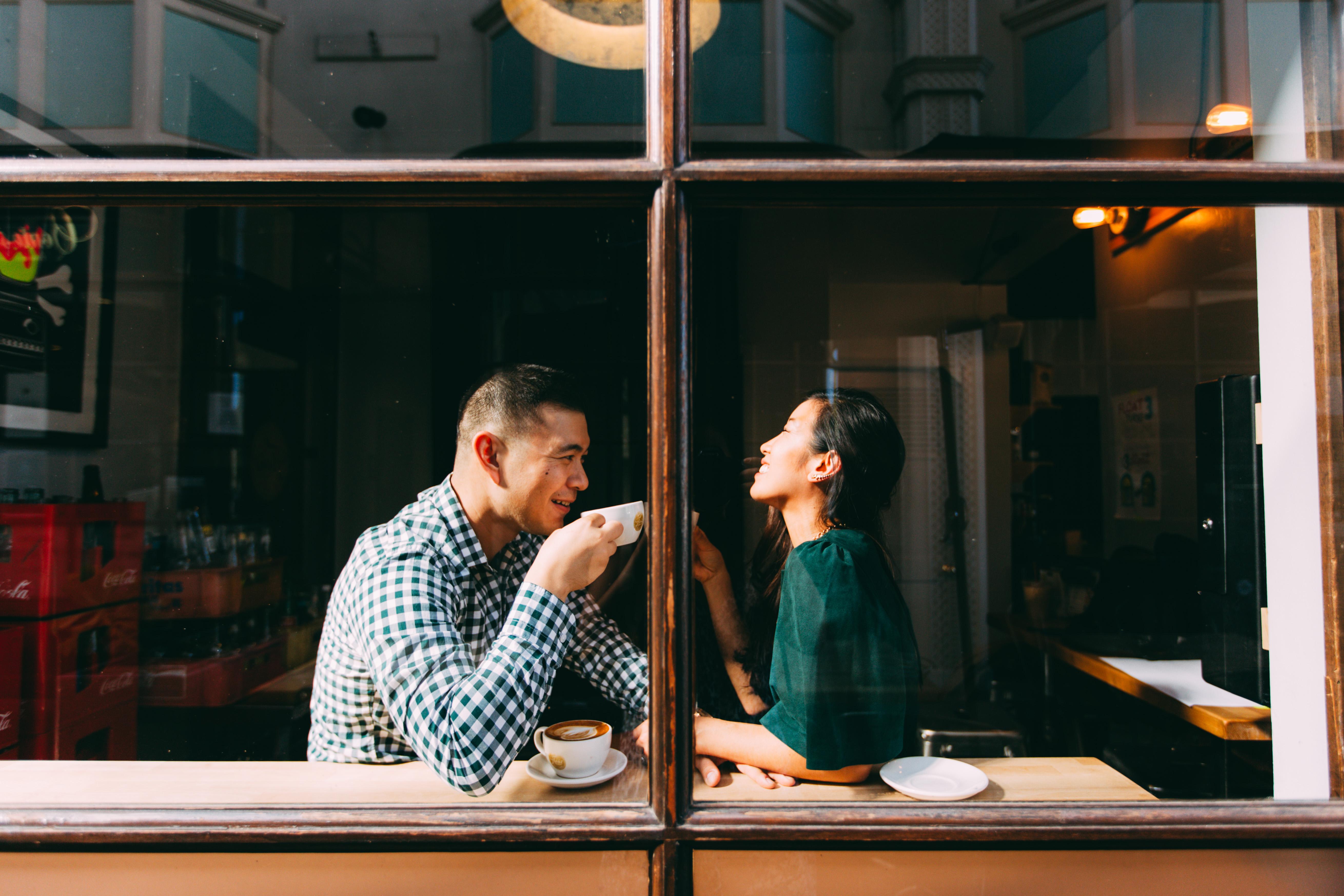 coffee shop engagement pasadena through window