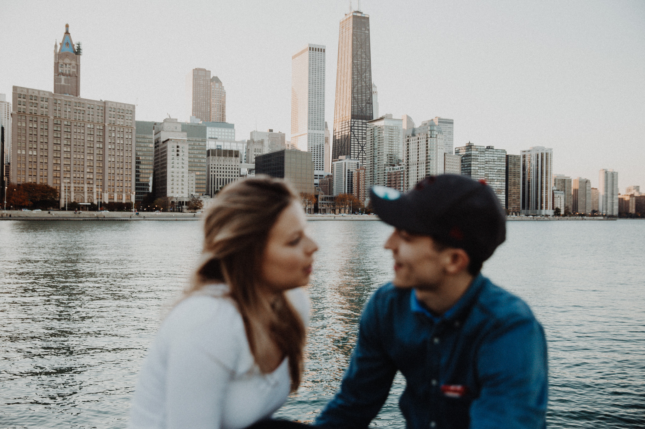 chicago skyline lake michigan engagement photos