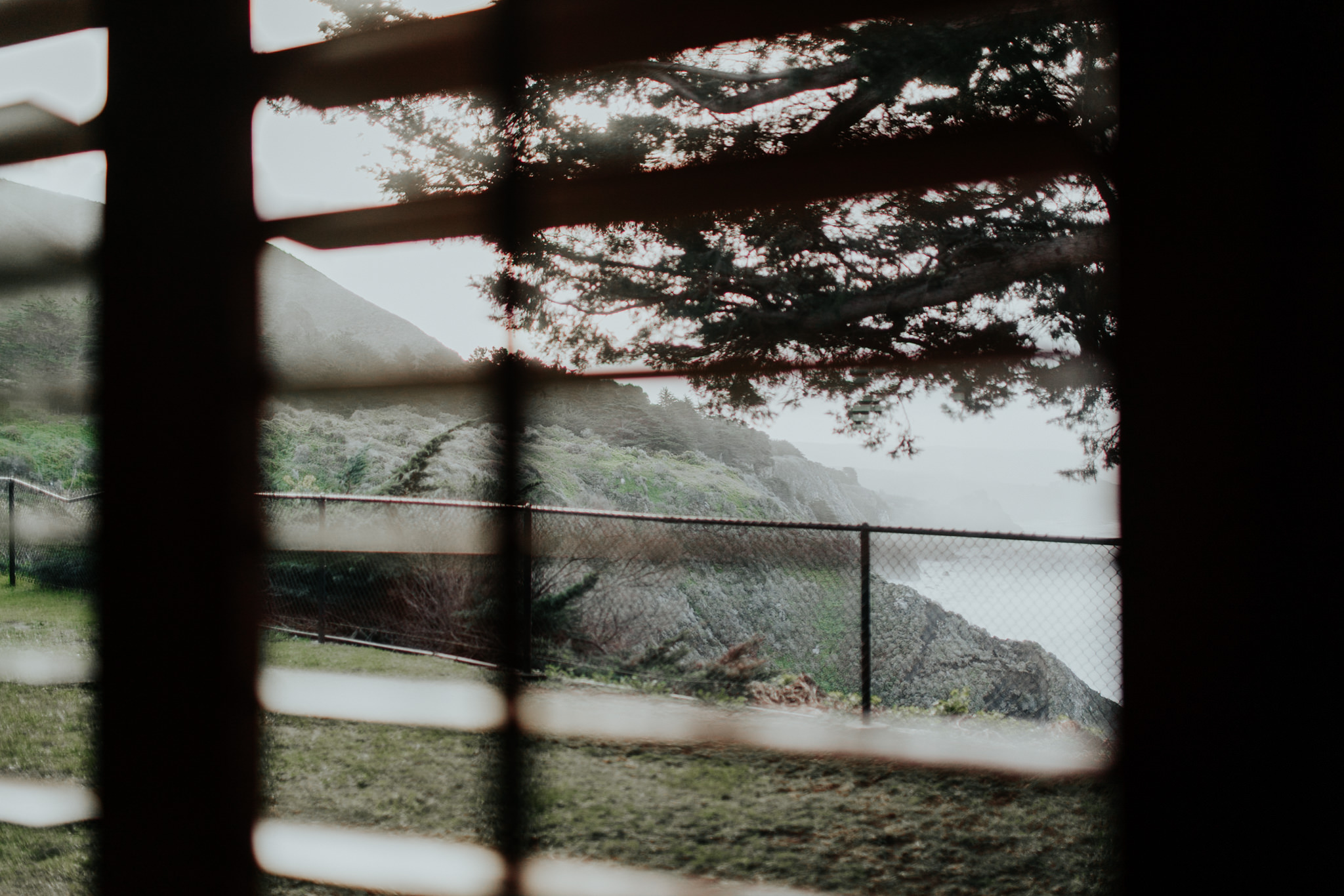 view from window into big sur coast blinds