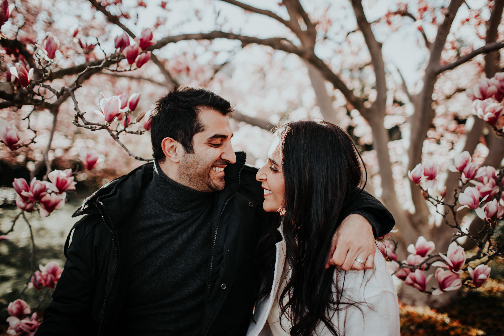 happy couple with cherry blossom background dc