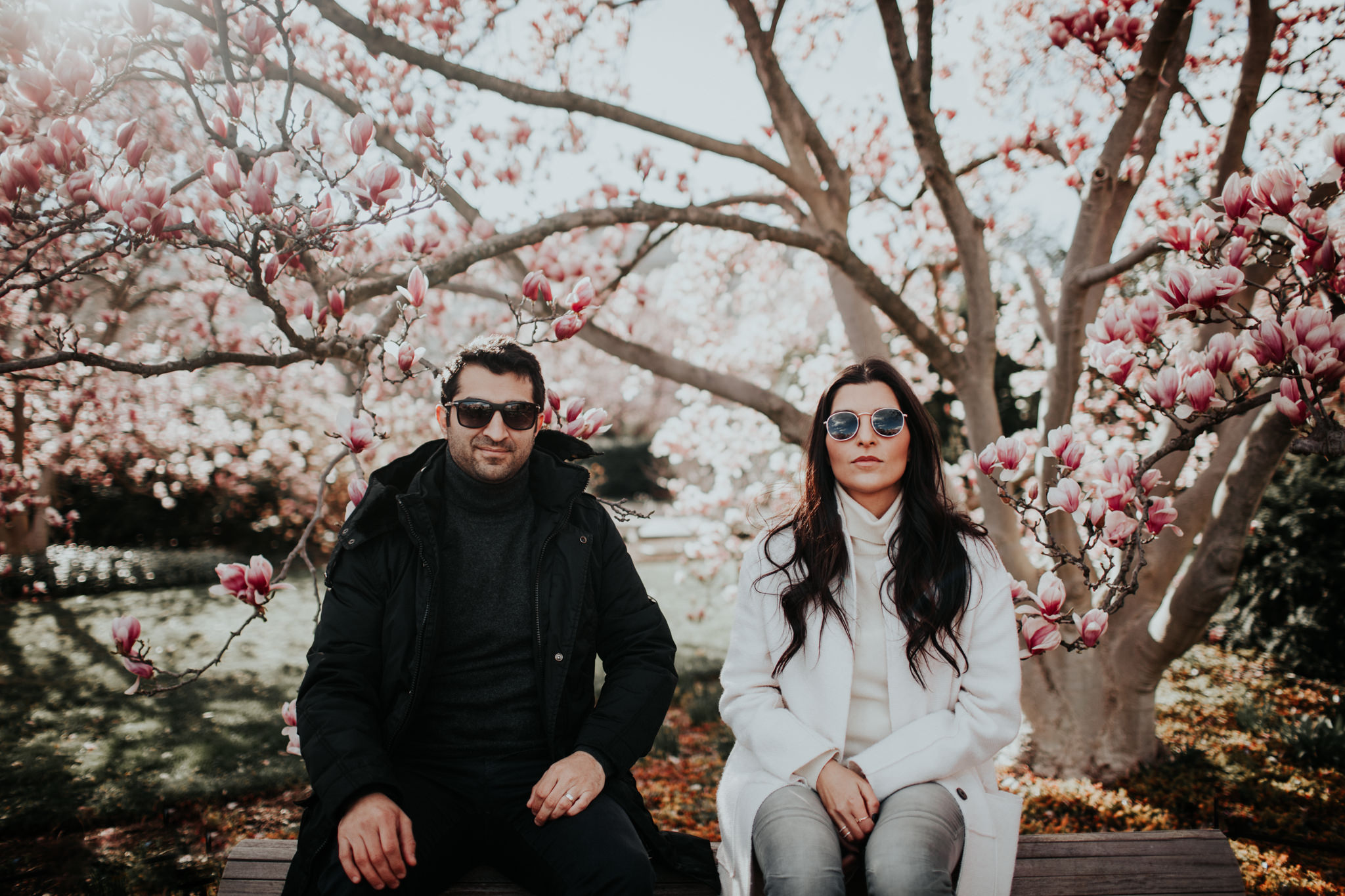 couple with sunglasses serious pose cherry blossom washington dc
